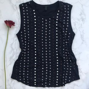 J Crew Navy beaded stacked sequin shell tank top s